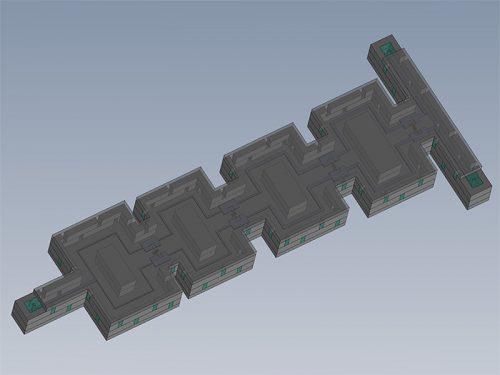 基于MEMS-Casting™技术的微同轴功率放大器三维模型图